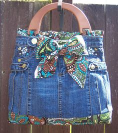 Denim and Paisley Purse with Wood Handles by RumpSprungCreations