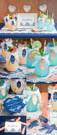 Such a cute drink display for your wedding, party, or shower!