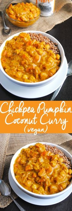 vegetarisch winter This easy Chickpea Pumpkin Coconut Curry is a delicious, comforting soup for fal. This easy Chickpea Pumpkin Coconut Curry is a delicious, comforting soup for fall and winter and will warm you up from the inside out! Veggie Recipes, Fall Recipes, Indian Food Recipes, Whole Food Recipes, Vegetarian Recipes, Cooking Recipes, Healthy Recipes, Soup Recipes, Curry Recipes
