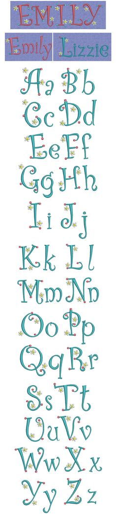 Embroidery | Free Machine Embroidery designs | Dots Daisies alphabet