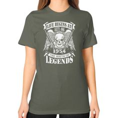 LIFE BEGINS AT 1954 Unisex T-Shirt (on woman)