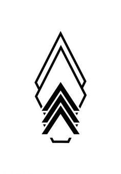 Invert, base of thigh tat - Logos Geometric Symbols, Geometric Tattoo Design, Geometric Designs, Geometric Logo, Finger Tattoos, Body Art Tattoos, Small Tattoos, Tattoo Art, Shape Tattoo