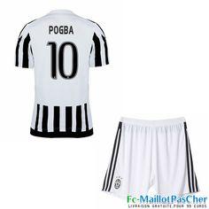 Nouveau Maillots Juventus noir et blanc Enfant POGBA 10 Domicile 15 2016 2017