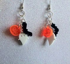 something cute :) - Tiny Halloween Laser Cut Charm Earrings by SkullyBunting on Etsy, £10.00