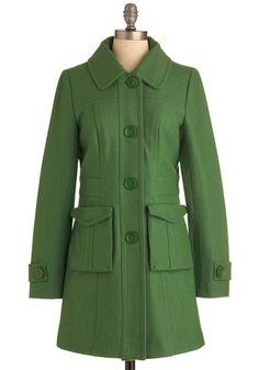 Tulle Clothing Senior Copy Writer Coat in Grass   Mod Retro Vintage Coats   ModCloth.com