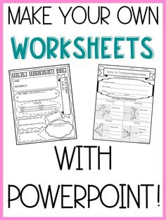 Make Worksheets in 6 Easy Steps – Lindsay Bowden Make your own resources with PowerPoint! Six easy steps to make your own worksheets, assessments, and more! Teacher Tools, Teacher Hacks, Teacher Resources, Teacher To Teacher, Powerpoints For Teachers, Resource Teacher, Resource Room, Teacher Supplies, Teacher Binder