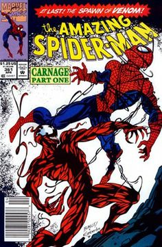 Amazing Spider-Man # 361 by Mark Bagley & Randy Emberlin older style of comic book cover i like the large contrasts and bright colours. Marvel Comic Books, Marvel Dc Comics, Comic Book Heroes, Comic Books Art, Book Art, Venom Comics, Spiderman Marvel, Marvel Vs, Vintage Comic Books