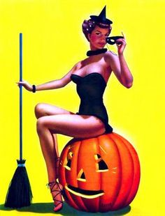 Halloween Pin-up by Gil Elvgren, ca. 1950s.
