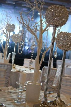Glass Cylinder Vases Bling Wedding Centerpieces Silver Rhinestone Tall Vases Bling Bouquet