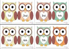 This printable contains ten gorgeous owls to cut out and display to help children with learning ordinal numbers. Each owl is different and they look really cute sitting in a row - but you could laminate them and use them as sorting cards, too. Ordinal Numbers, Numbers 1 10, Printable Numbers, Number Activities, Teaching Activities, Math Resources, Number Value, Ordering Numbers, Math For Kids