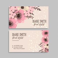 Business Card With Beautiful Pink Flowers. Pink Carnations, Pink Tulips, Graphic Design Posters, Graphic Design Inspiration, Black Rose Flower, Card Book, Japanese Graphic Design, Flower Doodles, Flower Template