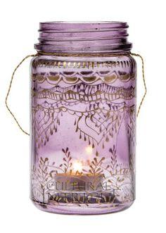 Medium Amethyst Mehndi Mason Jar - glazen pot beschilderd met Henna