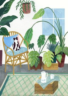 an illustrated jungle at home