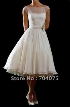 Elegant A-line Square neckline Off-shoulder Strap Organza Tea length Wedding Dresses (W2521) on AliExpress.com. $119.00