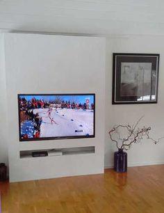 photo-meuble-TV-scandinave Decor Around Tv, Tv Wall, Diy Entertainment Center, Scandinavian Style, Wall Decor Living Room, Mural, Tv Console Decorating, Tv Stand Decor, Tv