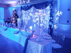 A side shot of the head table. Fauquier Springs Country Club