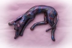 Greyhound Galgo Whippet Sculpture Valentine Figurine with Heart by GreyhoundCleyhounds on Etsy