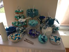 Sweet cart, blue sweets for wedding