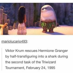 Do I put this with the Harry Potter or the Disney stuff? Viktor Krum rescues Hermione Granger by half-transfiguring into a shark during the second task of the Triwizard Tournament, February 24, 1995--Moana and Maui the Land Shark