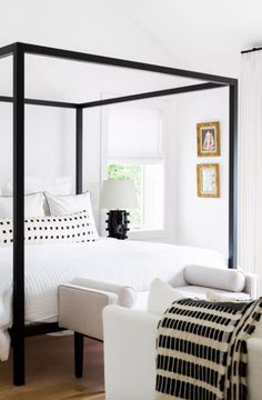 Chalet Cream and Black (limited) : Chalet Ivory and Black extra long lumbar pillow from Arianna Belle in the master bedroom of Ashley Robertson Black And Cream Bedroom, Cream Bedrooms, Black Master Bedroom, Master Bedrooms, Black Bedrooms, Bedroom Neutral, Luxury Bedrooms, Bedroom Simple, Single Bedroom