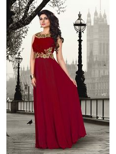 Maroon Partywear Chiffon/Crepe Women Gown, Price: INR 15013