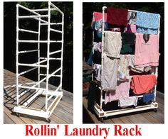PVC laundry rack on wheels, rolls into laundry area to load directly out of washer, rolls to in any room, or near wood stove or in front of a sunny window, or outside on a deck to dry the clothes. if it rains, no panic, just roll the clothes back inside til the shower is over and roll back out. when the clothes are dry, roll the rack to the dryer to tumble for 5 minutes to take the stiffness out of the clothes. rollin' rollin' rollin'.....yeeHA!