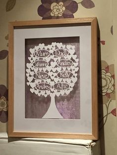 Modern Hearts Family Tree Papercut.  Can be purchased as a template & original papercut.