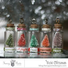 Christmas Trees in Bottles by Vicki Chrisman using the Mini Brush Trees and Label Stickers from the Oh, Deer! collection by FancyPantsDesigns.com