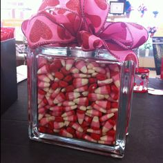 Candy in a glass block. Could do with any holiday!