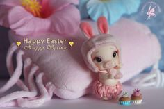To All Friends, with Love from CCC ~CCC pOink lil potbellie 6cm pig anthro Tiny BJD Bunny Hat by LPS & Petite Blythe Bloomers by ...? *bought at LDoll Lyon 2014 Little cakes by Andrea V. Dalen