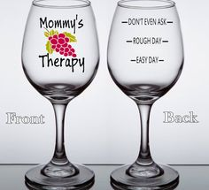 Mommy's Therapy Custom Wine Glass Funny Mom Wine by LightedBottle