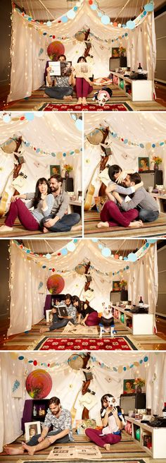 Ok, I know it's not really a gift but how cute would it be to surprise your boyfriend with an good old fort with some more grown up stuff inside it. - cute date idea Gifs Ideas, Build A Fort, Old Fort, My Sun And Stars, Festa Party, Engagement Shoots, Engagement Pictures, Sleepover, Good Old