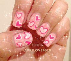 Valentines day nail art #nails #nail art #hearts nails #pink nails #valentines nails #valentines day nails #valentines day nail art #unhas #unhas decoradas