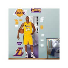 Fathead Los Angeles Lakers Kobe Bryant Growth Chart Wall Decals, Multicolor