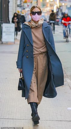 Olivia Palermo Lookbook, Olivia Palermo Style, New York Socialites, Black Lace Up Boots, Blue Coats, Suit Fashion, Autumn Winter Fashion, Celebrity Style, My Style