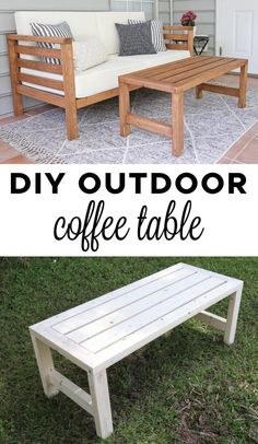 DIY Outdoor Coffee Table – Angela Marie Made - Diy furniture design Outdoor Couch, Outdoor Coffee Tables, Diy Outdoor Furniture, Diy Furniture Projects, Diy Wood Projects, Furniture Makeover, Patio Makeover, Furniture Design, Furniture Decor