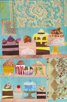 Mixed Media Collage The Patisserie by Shelby Healey. home sweet home idea Mixed Media Collage, Mixed Media Canvas, Collage Art, City Collage, Art Journal Pages, Art Journals, Art Texture, Mix Media, Art Graphique