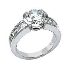 semi bezel wedding set | ... Engagement Ring With Round Center In Semi Bezel And Round Channel Set