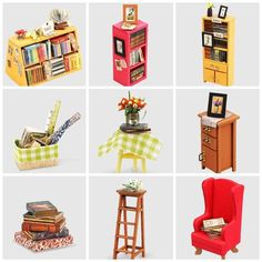 Wooden Dollhouse Kits, Diy Dollhouse, Dollhouse Miniatures, Woodcraft Construction Kit, Tiny Furniture, Miniature Furniture, Mexican Furniture, Led Furniture, Wooden Furniture