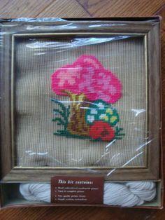 Atomic!  Vintage Retro Bucilla Mushroom Needlepoint Kit with Frame | eBay