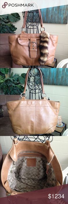 Extra Photos Of Coach Soho Tote Coach Soho Tote very large with heavy leather construction, one large front exterior snap pocket, 3 interior slit pockets, zip closure and silver accents. This purse is slightly pre loved with minor fading and scratching, overall good condition with no rips, tears or fraying leather. Color Carmel / Light Brown. Material Leather. Measurements 12 tall x 19 wide x 5 depth x 11 strap drop Coach Bags Totes