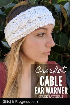 This gorgeous one skein crochet pattern gives you so much style in such a small piece This earwarmer and headband will keep you warm and stylish through the cool and cold Crochet one today with our free pattern oneskein crochet freepatterns Crochet Cable Stitch, One Skein Crochet, Crochet Stitches, Crochet Hats, Crochet Cord, Doilies Crochet, Crochet Headband Free, Knitted Headband, Free Crochet