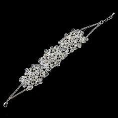 Silver Clear Rhinestone & Swarovski Crystal Bead Bracelet 9501