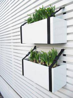 """plant box and belt .these """"belts"""" look more like strap webbing and could be DIY made to size. If you wanted to non-installed plant box and had a railing, this could work, like a porch / deck rail Outdoor Spaces, Outdoor Living, Plant Box, Planter Boxes, Hanging Planters, Deck Railing Planters, Porch Railings, Hanging Gardens, White Planters"""