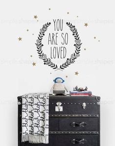 You Are So Loved Quote Lettering Wall Decal #SimpleShapes