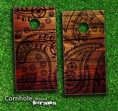 Tattooed Wood Skin-set for a pair of Cornhole Boards from Design Skinz, INC.