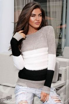 Discover thousands of images about Warm striped sweater photo 1 Mens Knit Sweater Pattern, Mohair Sweater, Sweater Knitting Patterns, Knitting Designs, Knit Fashion, Sweater Fashion, Stylish Hoodies, Summer Knitting, Crochet Clothes