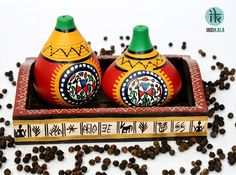Only at www.indikala.com Terracotta Warli Handpainted Salt & Pepper Shaker With…