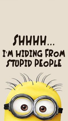 I'm hiding from stupid people