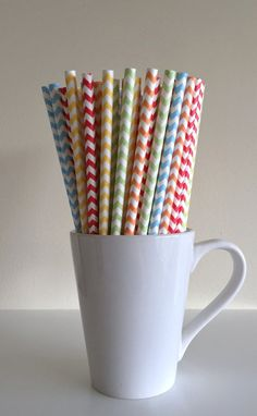 Paper Straws  25 Red Orange Yellow Light Green by PuppyCatCrafts on Etsy.
